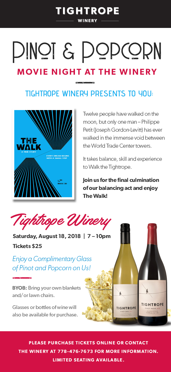 Tightrope Winery - Blog - Pinot & Popcorn Night at Tightrope Winery